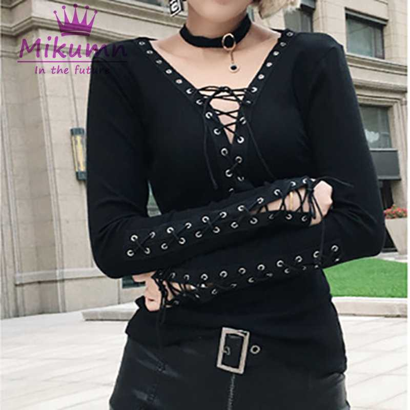 Harajuku Gothic Black Sexy Hollow Out Lacing Long Sleeve T-shirt Punk V-neck T shirt Tops Autumn New Style Blusas Femininas