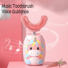 Electric Toothbrush Silicone Children's Light Blue IPX7 U-Type 360-Degree Disinfection