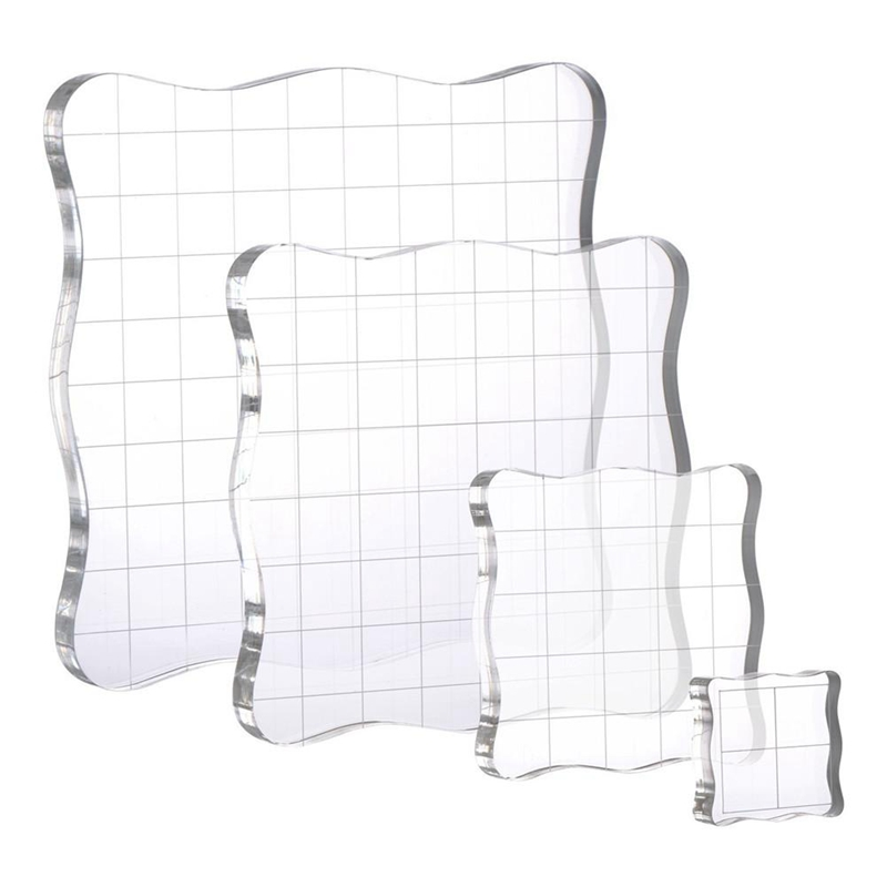 4Pcs/Set Stamps Pad Tools DIY Stamp Acrylic Block Pad With Grid Grip For Clear Stamps Scrapbooking Handmade Stamping Tools
