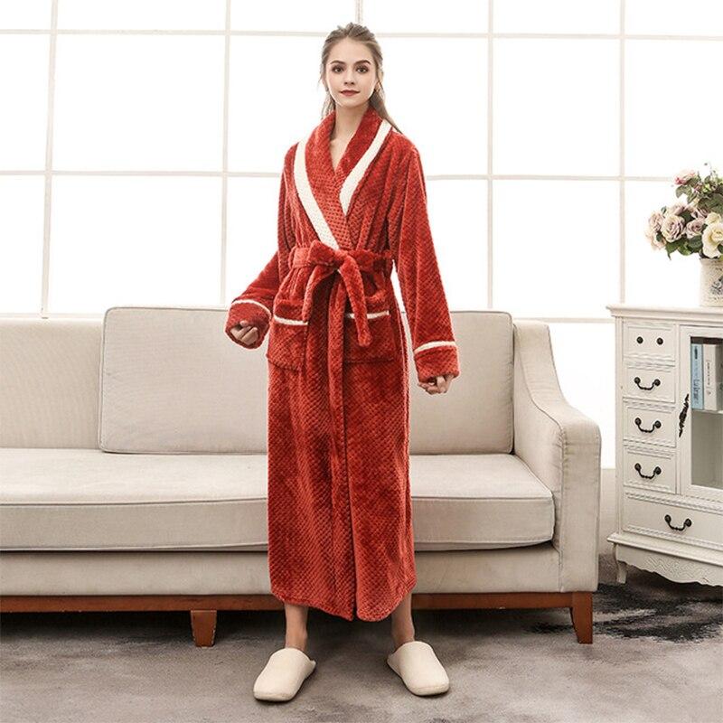 Women's Warm Robe Winter Warm Kimono Thicken Terry Sleepwear Long Dressing Gown Plus Size Soft Bathrobe Home Clothing Women's