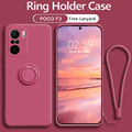 Xiaomi Poco F3 Case Ring Holder Liquid Silicone Case Xiaomi Poco X3 Full Camera Protective Case Casing Cover