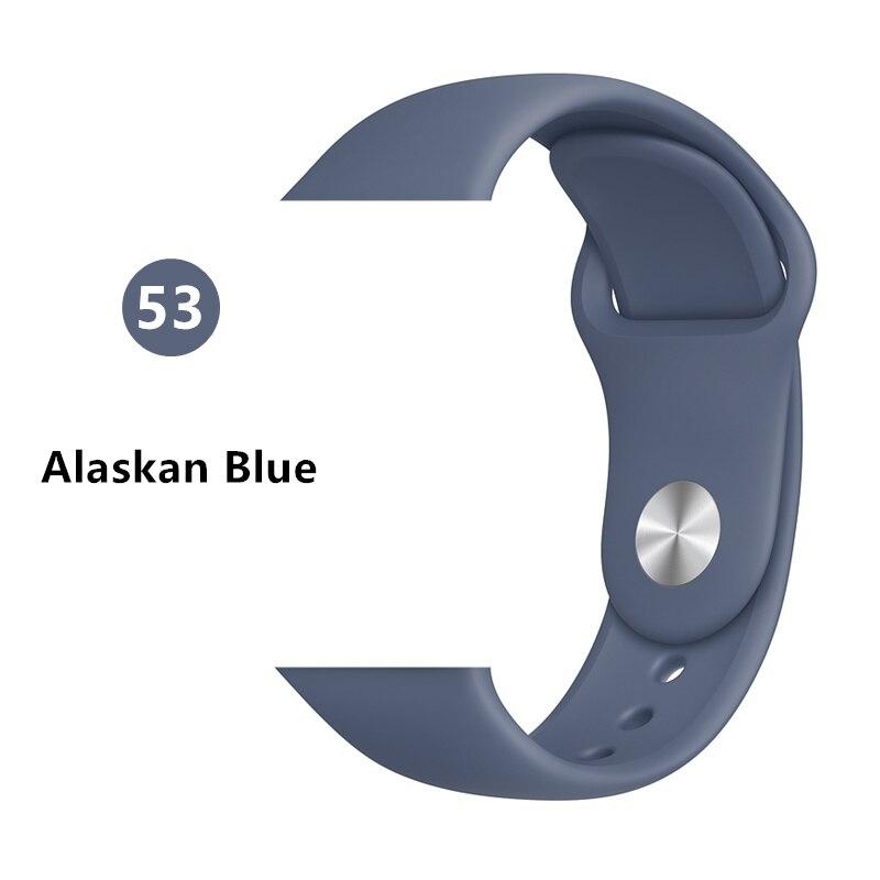 Силиконовый ремешок для apple watch 4 5 44 мм/40 мм спортивный ремешки для apple watch 3 42 мм/38 мм резиновый ремень браслет ремешок для часов apple watch Band Мягкий красочный ремешок iwatch series 4 3 2 1 - Цвет ремешка: Alaskan Blue