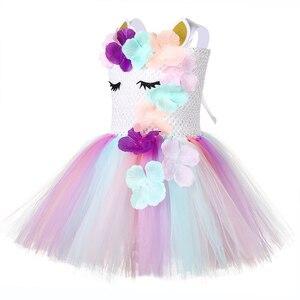 Image 4 - Милое праздничное платье для девочек с цветочным рисунком и единорогом Детские костюмы единорогов на Хэллоуин для девочек 1 год, платье для дня рождения с повязкой на голову с единорогом