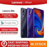 Versão global lenovo z5s snapdragon 710 octa núcleo 64 gb 128 gb smartphone face id 6.3 ai triplo câmera traseira android p celular