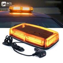 Lámpara LED COB de 12V con Base magnética, luz ámbar/amarilla de advertencia de emergencia