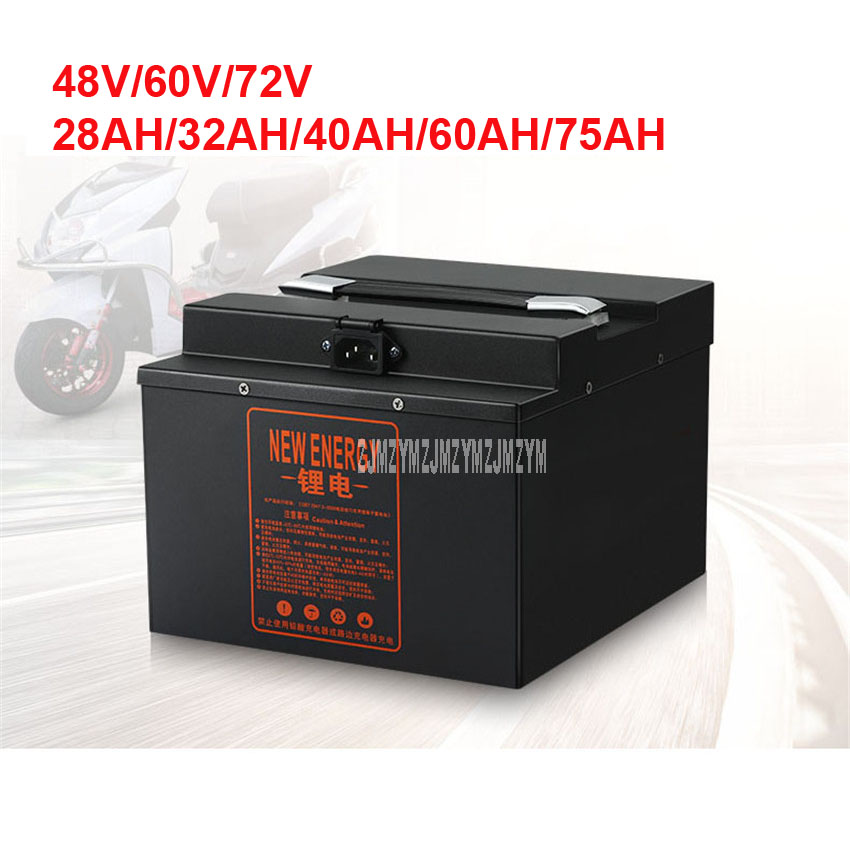 48V/60V/<font><b>72V</b></font> Electric Bike <font><b>Lithium</b></font> <font><b>Battery</b></font> For Less Than 2000W Motor Ebike Electric Bicycle <font><b>Battery</b></font> 28AH/32AH/40AH/<font><b>60AH</b></font>/75AH 220V image