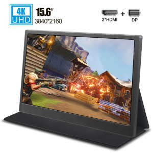 15.6 inch 4K portable monitor 3840X2160 laptop gaming display UHD screen IPS witn Dual miniHD DP for phone computer ps4 switch