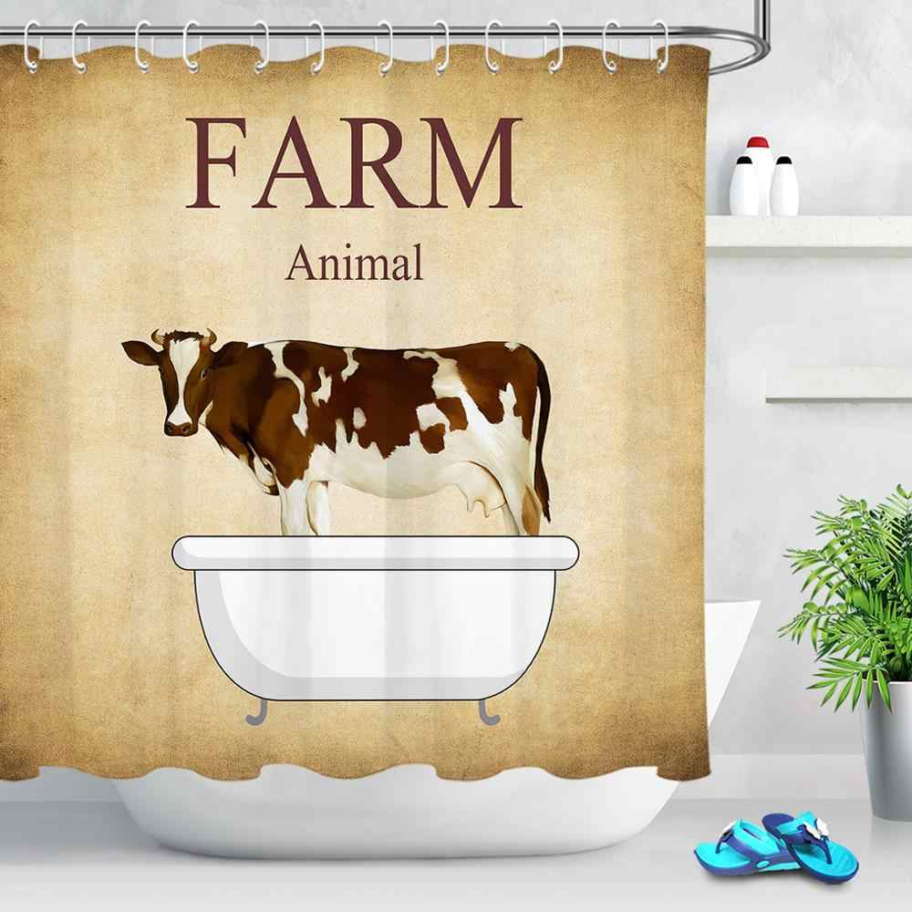 Rustic Truck Cow Farmhouse Fabric Shower Curtain Toilet Cover Rugs Mat Set