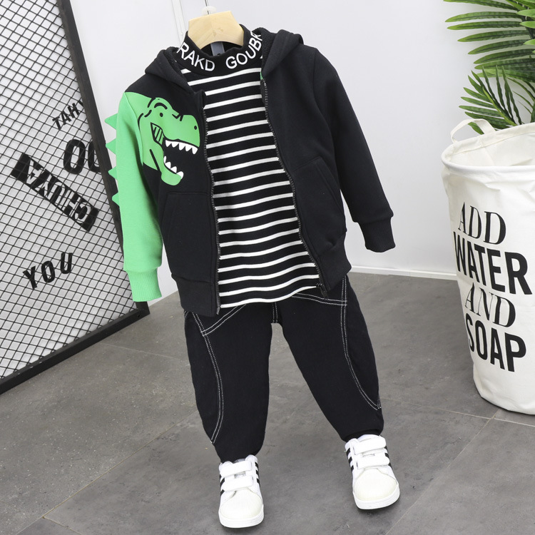 3PCS WLG boys winter clothing set kids velvet dinosaur printed jacket thick striped shirt and jean set baby boy warm clothes