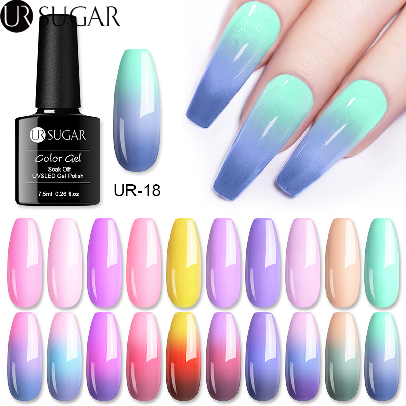 UR SUGAR 7.5ml Thermal Gel Polish 3 Colors Temperature Color Changing Glitter UV Gel Varnish Soak Off UV LED Gel Lacquers