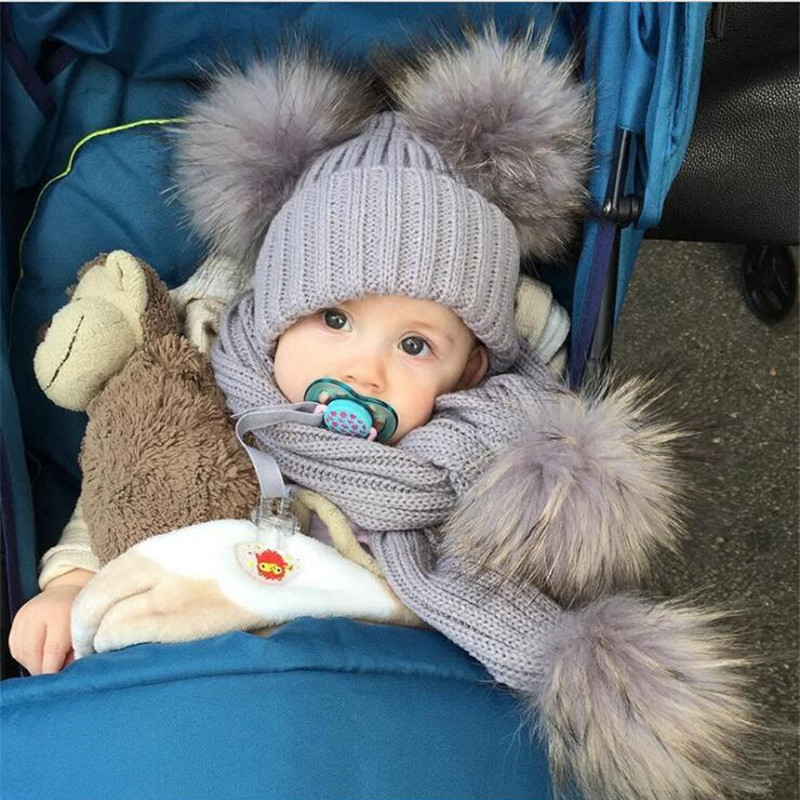 Cute Knit Children's Hat With A Scarf Double Ball Faux Fur Hats Scarves Set Winter Accessories For Baby Sjaal Muts Kids