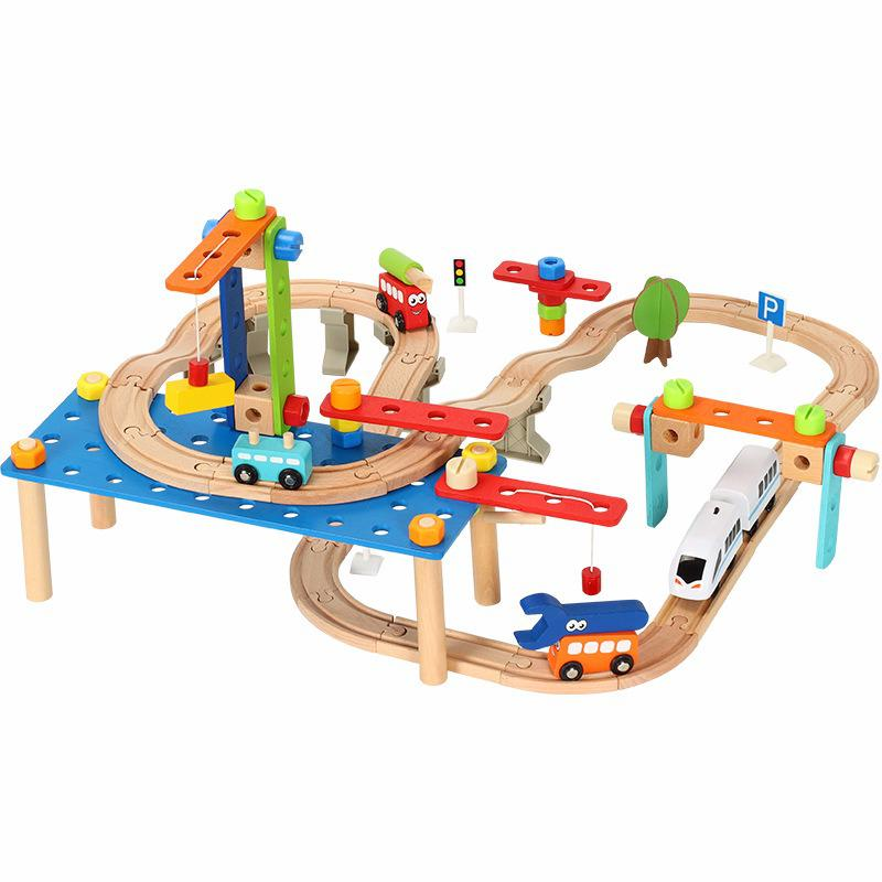 95pcs Children's Puzzle Nut Disassembly Block Wooden Railway Train Electric Small Train Track Suit Toy Gift for children