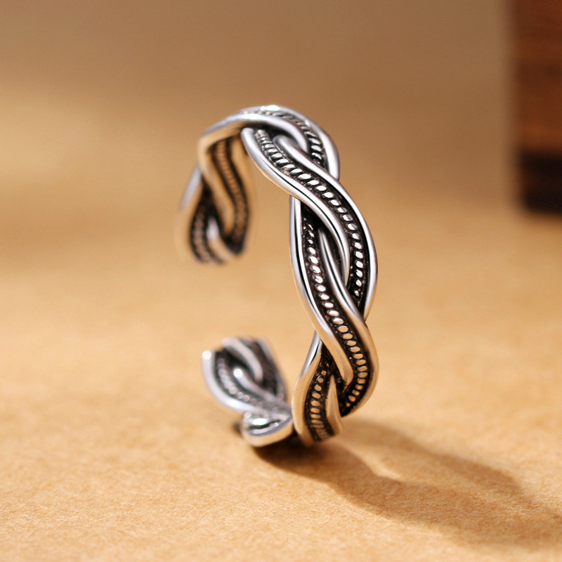 2019 New Retro Woven Ring 925 Sterling Silver Jewelry Creative Intertwined Opening Ring For Men And Women