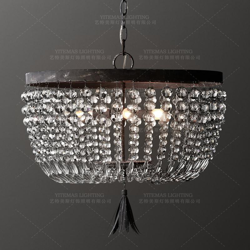 Small Vintage crystal bead chandelier lighting retro chandelier industrial hanging lights kitchen bedroom indoor light fixture