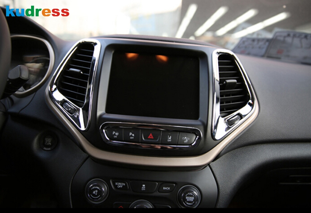 For Jeep Cherokee 2014 2015 Whole Set Interior AC Outlet Trim Cup Holder Roof Light Handle Cover Armrest Wheel Covers Trim 18pcs