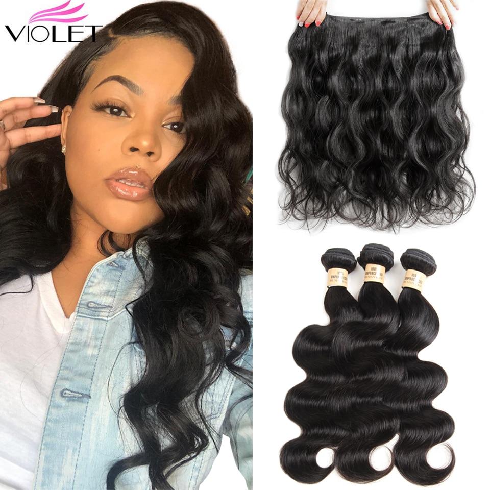 VIOLETA cabelo Onda Do Corpo Peruano Feixes de Cabelo Não Remy Do Cabelo Humano Weave Extensions Natual Cor 8-26 Polegada Extensões de Cabelo