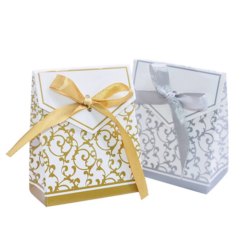 10Pcs Gold Silver Paper Candy Box Gift Bag Wedding Gift Packaging Baby Shower Favors Birthday Party Supplies Wedding Candy Box