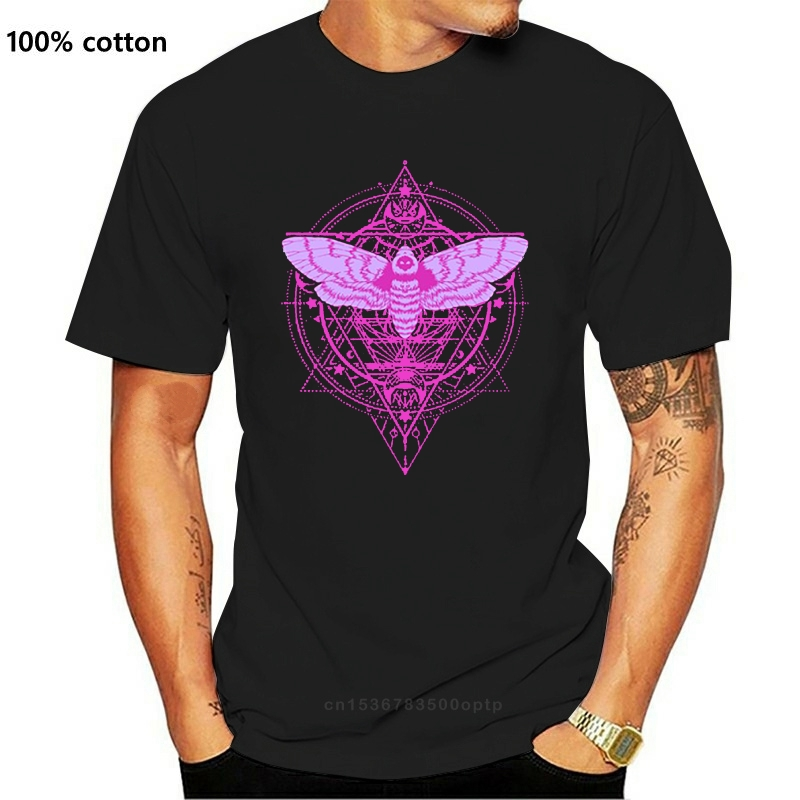 Create Moth And Crescent Moon Witchy Pastel Goth T Shirt Men Round Collar Female Cool Women T Shirts Tee Top
