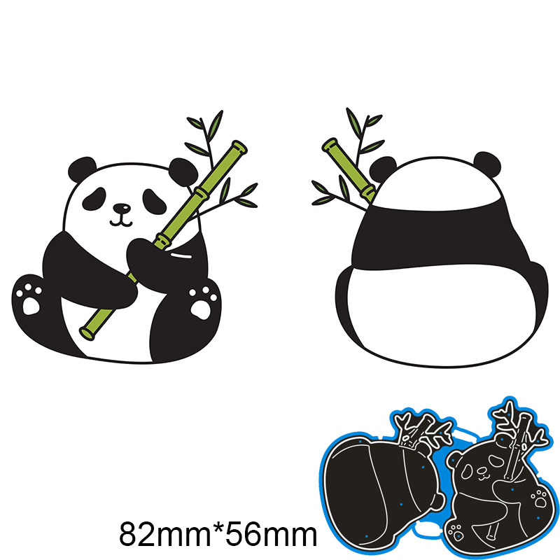 82*56mm Panda Eating Bamboonew Metal Cutting Dies For Card DIY Scrapbooking Stencil Paper Craft Album Template Dies