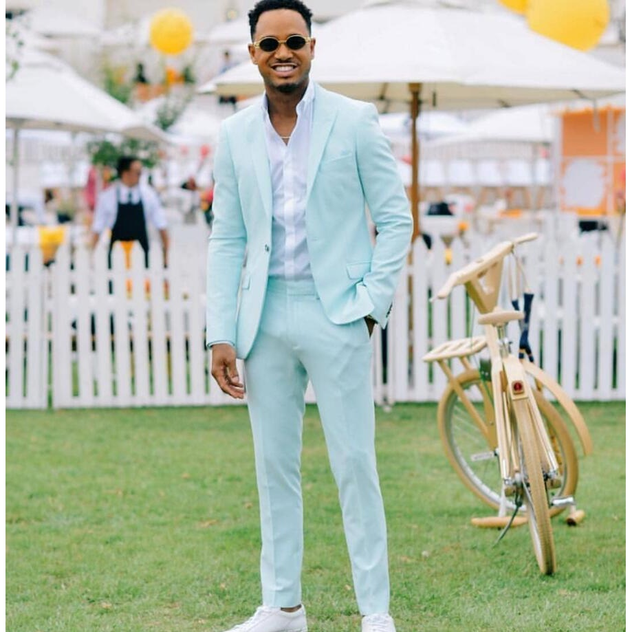 Custom Mint Green Men Suit Blazers For Party Prom 2 Pcs Jacket With Pants Groom Wedding Suits Notched Lapel Mens Tuxedos