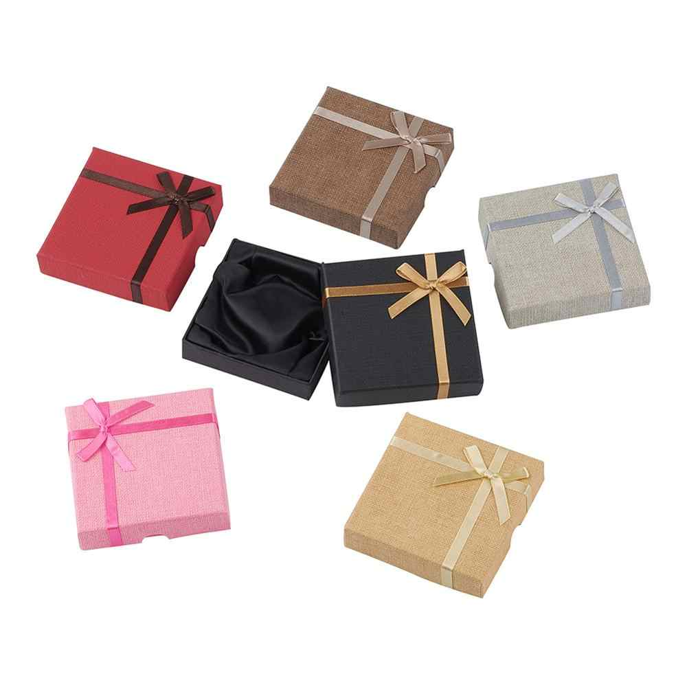 24 piezas caja organizadora de joyería de alta calidad caja de cartón caja de almacenamiento collar joyería regalo caja de embalaje de Color mezclado