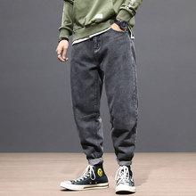 Korean Style Fashion Men Jeans Loose Fit Elastic Denim Harem Pants Spliced Designer Streetwear Hip Hop Taper Trousers
