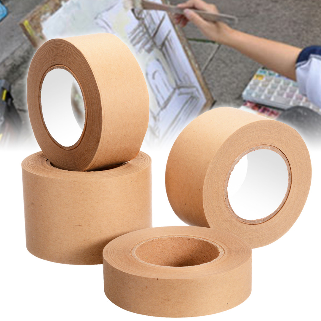 1Roll 30m Gummed Kraft Paper Tape Bundled Adhesive Paper Tapes Sealed Carton Painting Sticker Masking Tape For Packaging Tools