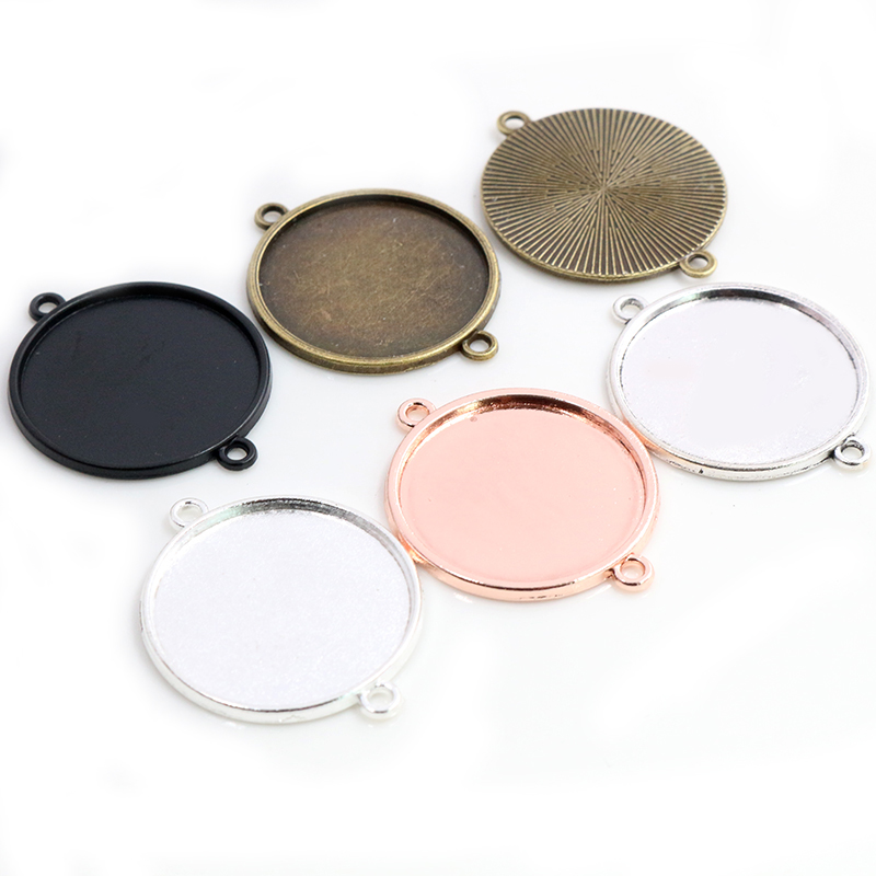 New Fashion  10pcs 25mm Inner Size Clear Silver Plated 5 Colors Cameo Cabochon Base Setting Charms