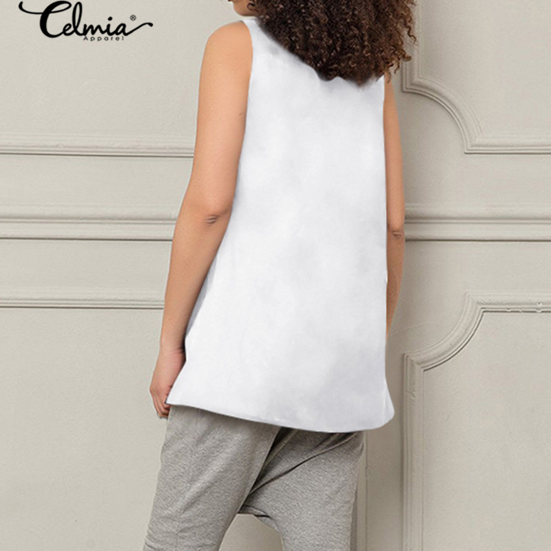Celmia Oversized Sleeveless Tops Womens Blouses Vintage Asymmetrical Shirts Casual Loose Buttons Work Female Blusas Summer Top