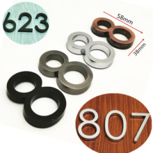58mm 0123456789 nowoczesny szary numer tablicy dom drzwi hotelowe adres cyfry naklejka emblemat znak plastik ABS
