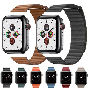 цена на Strap for Apple Watch Band 44 Mm 40mm Iwatch Band 42mm 38mm Genuine Leather Loop Magnetic Buckle Bracelet Apple Watch 5 4 3 2