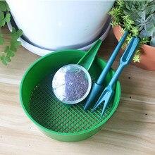 4 sztuk ogrodnictwo narzędzia do siewu przenośny dozownik przesiewanie Pan Sower Seed rozrzutniki sadzarka sadzonka narzędzie do usuwania narzędzia ogrodowe
