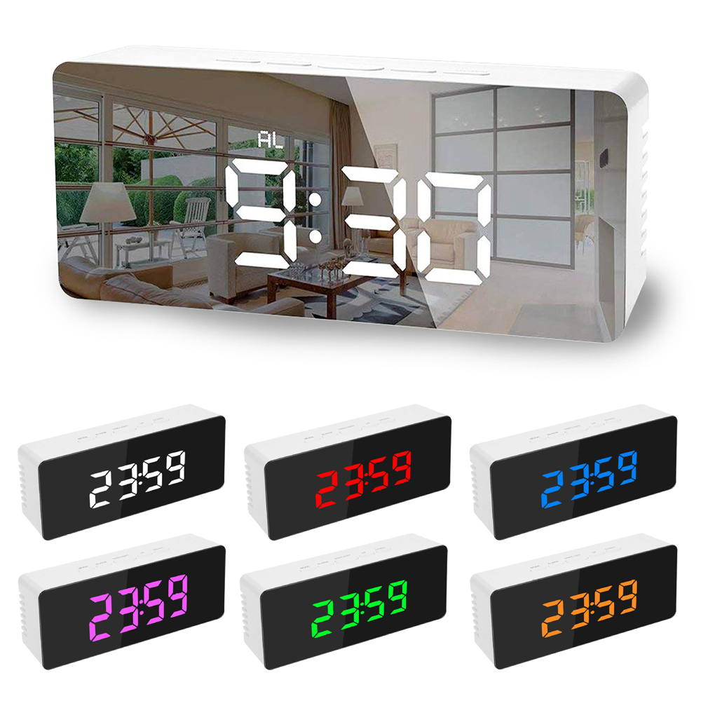 5Fuctions Button Digital Mirror LED Display Alarm Clock 1pc 14x50x3.4cm Desk Clock Temperature Calendar Snooze Function With USB