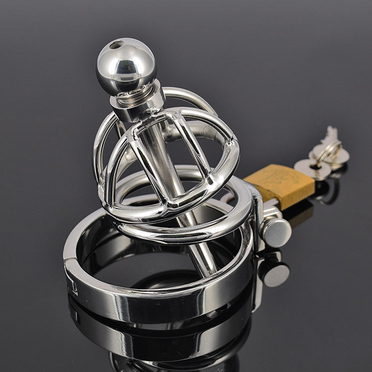 Stainless Steel Penis Ring Male Chastity Device Belt Testicles Cage Cock Lock Restraint Catheter Men Gay Sex Urethral Toys
