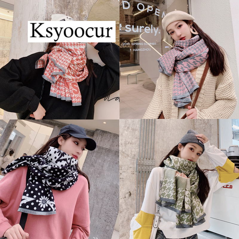 Size 190*65cm, 2020 New Autumn/Winter Long Section Cashmere Fashion Scarf Women Warm Shawls And Scarves Brand Ksyoocur E02