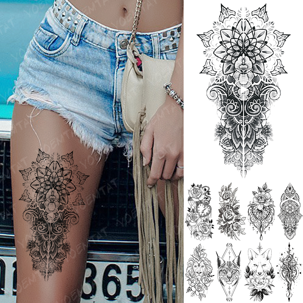 Waterproof Temporary Tattoo Sticker Snake Flower Rose Flash Tattoos Lace Fox Lion Tree Body Art Arm Fake Sleeve Tattoo Women