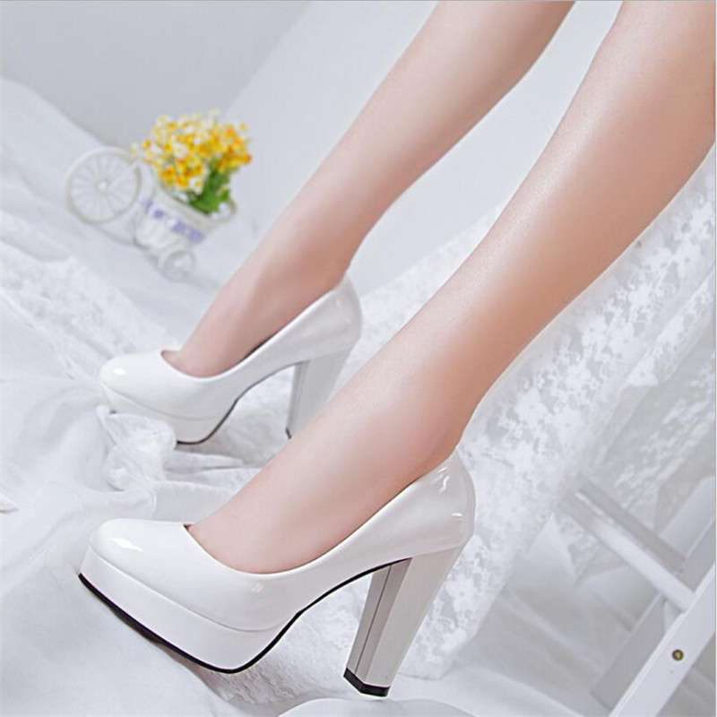 Sexy Ladies Thin Heeled Pumps Platform Patent Leather Concise Super High Heels Shoes Woman Wedding Party Shoes