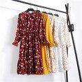Женское шифоновое платье-рубашка средней длины, повседневное винтажное платье-рубашка в Корейском стиле с цветочным принтом, длинным рукав...