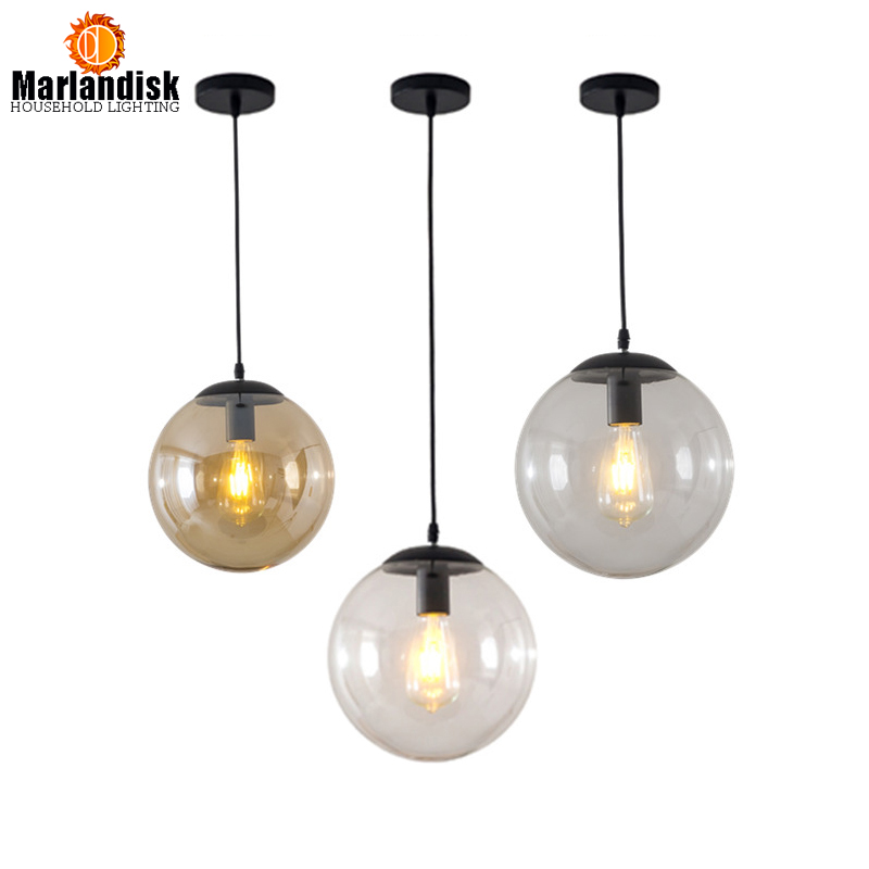 Vintage&Post Modern E27 Indoor Lightings Clear/Amber Glass Round Pendant Light In Dinning Room/Bedroom(DK-50)