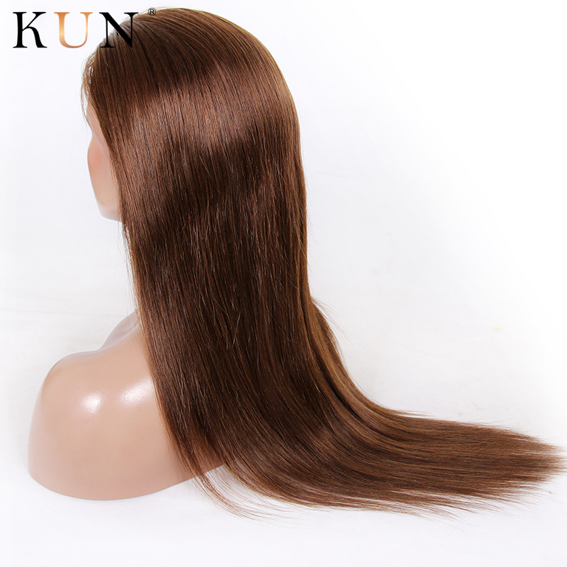 #4 Light Brown Ombre Human Hair Wig Straight Lace Front Human Hair Wigs 13x4 13x6 Lace Front Wig PrePlucked 150 180 Density Remy