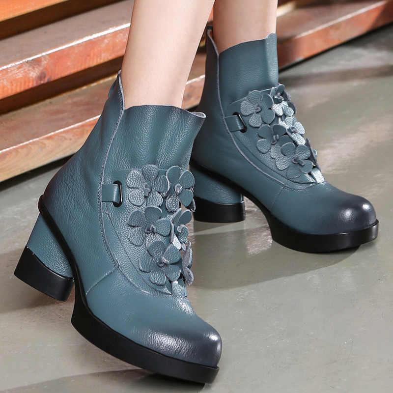 GKTINOO sonbahar kış moda hakiki deri ayakkabı kadın botları rahat kadın kalın yüksek topuklu el yapımı kadın yarım çizmeler