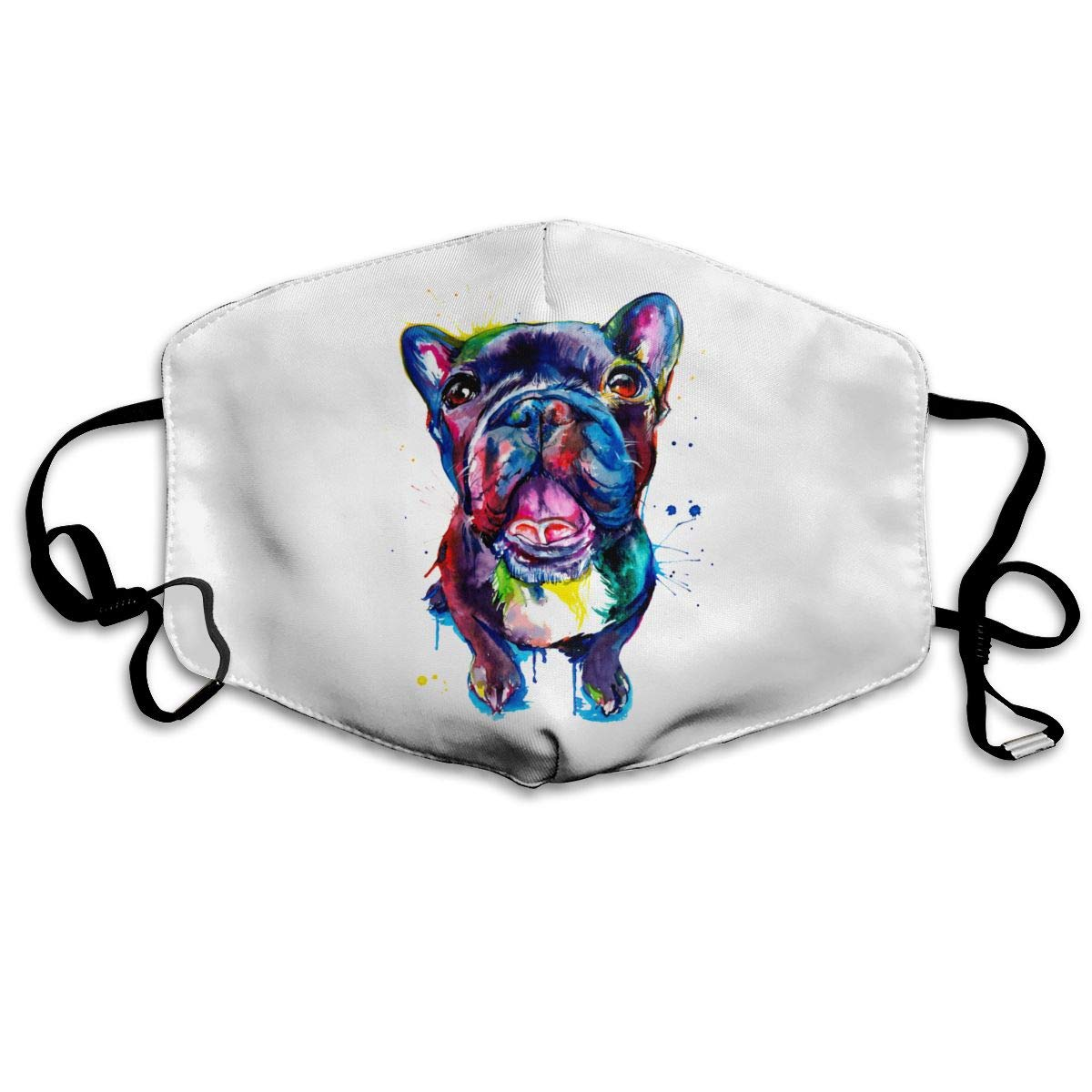 Mouth Mask Adjustable Anti Dust Face Mask, Black French Bulldog Frenchie Art Face Mask For Cycling Camping Travel