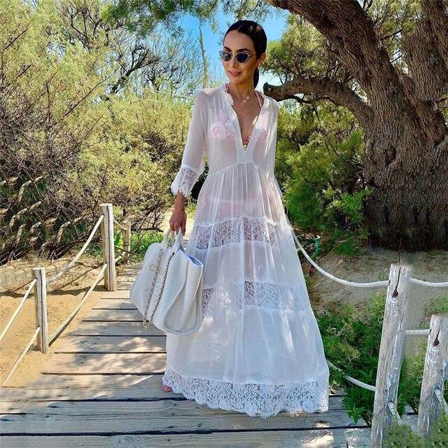 2020 Swimwear Cover ups Sexy V neck Summer Beach Dress White Lace Tunic Women Plus Size Beachwear Swim Suit Cover Up Q988
