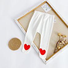 Spring Autumn  Small Love Print Leggings For Baby Girls Boys Cartoon Leggins Children Pant Newborn Thin Cotton Long Socks Pants
