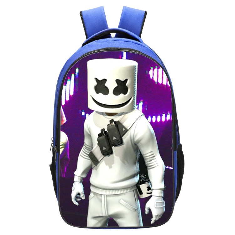 DJ Cotton Candy Backpack Marshmello-Style Youth Double Layer School Bag Blue Shoulder Cross-Border A Generation Of Fat