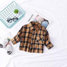Весенняя детская одежда, Детская рубашка с длинными рукавами для маленьких детей, клетчатая рубашка из чистого хлопка для малышей, топ в Корейском стиле для 0-3 лет