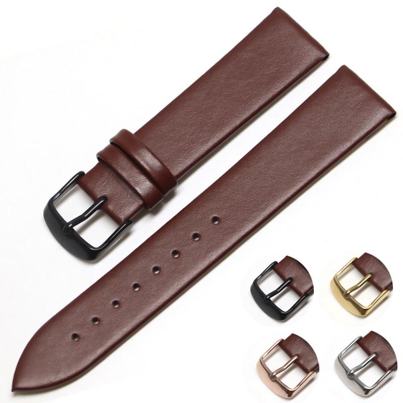 Genuine Leather Watchband 18mm 20mm 14mm 16mm 22mm Wrist Watch Strap Men High Quality Brown Black Watchbands Bracelet Belt Band