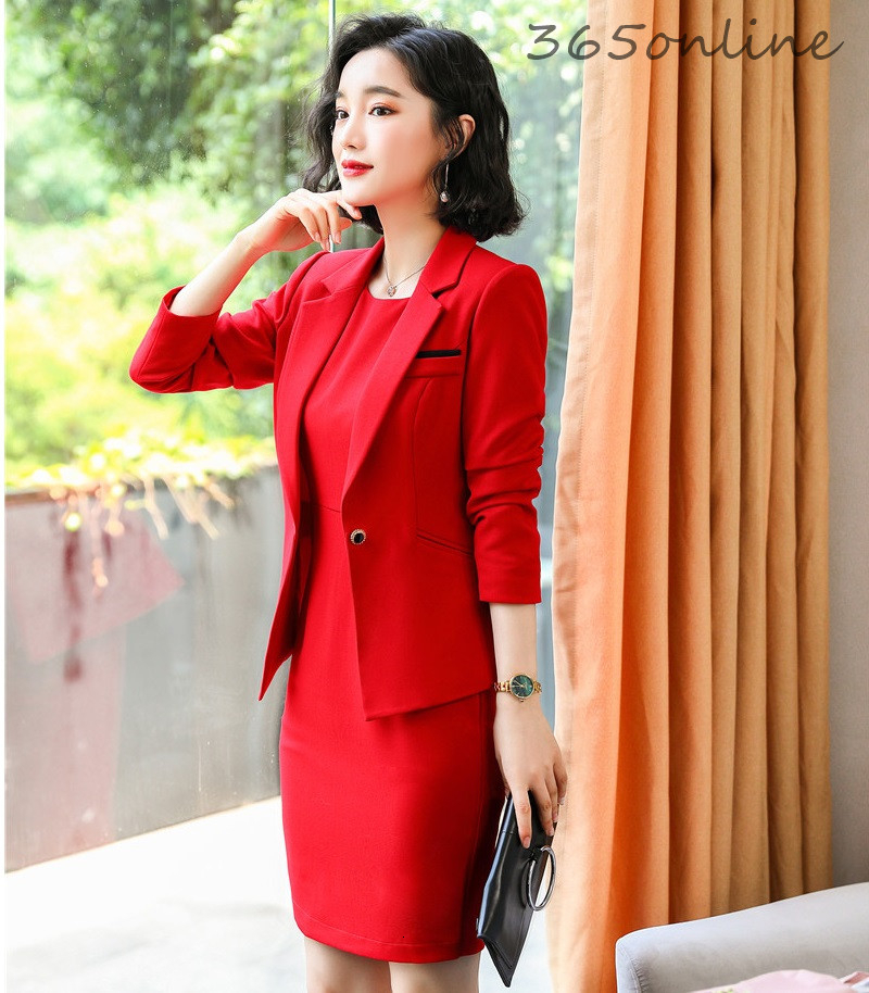 Elegant Red Ladies Office Autumn Winter Formal Women Business Suits with Dress and Jackets Coat Professional Work Wear Blazers
