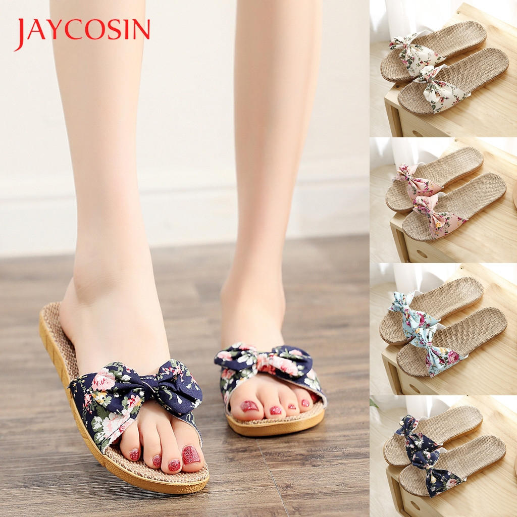 JAYCOSIN Shoes Woman Female Bohemia Bowknot Flax Linen Flip Flops Beach Shoes Sandals slippers flip flops zapatos de mujer 1