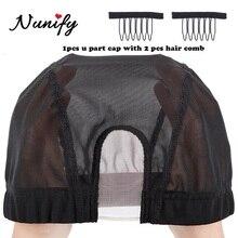 Nunify U Part Wig Cap Hair Net Elastic For Making Mesh Cap Swiss Lace Black Spandex Easier Sew Hair Stretchable Weaving Cap